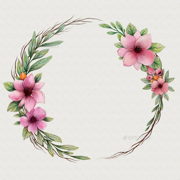 Watercolor wreath with flowers - Borders Decorative