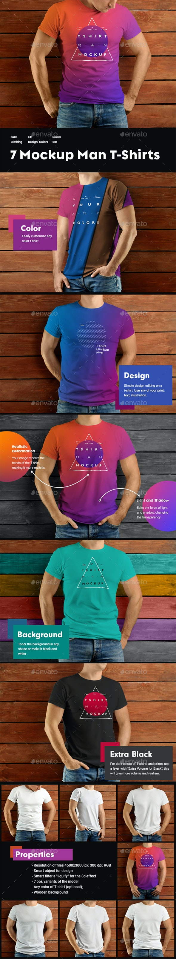 7 MockUps Man T-shirts on Wooden Background - T-shirts Apparel
