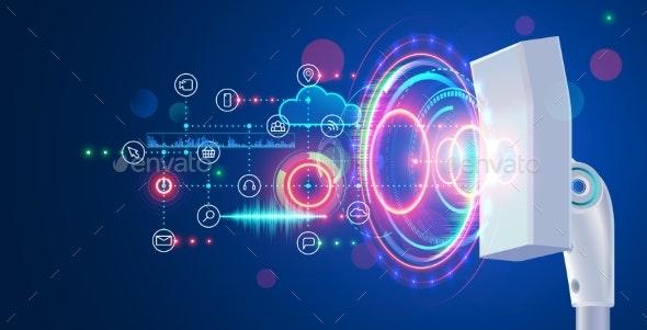 Broadband hi-speed Mobile Internet. Network Tower Transmit Communication Signal. 5g wireless concept - Backgrounds Decorative