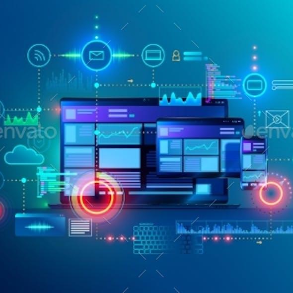 Website Development App Design Technology Programming on Laptop Phone Tablet Applications Layout