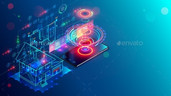 Smart home isometric concept. Internet things and mobile app of appliances, security system, iot - Computers Technology