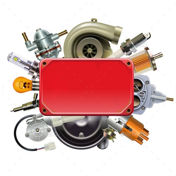 Vector Red Frame with Car Spares