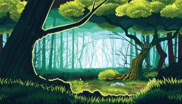 Horizontal Seamless Background of Forest Landscape - Backgrounds Decorative