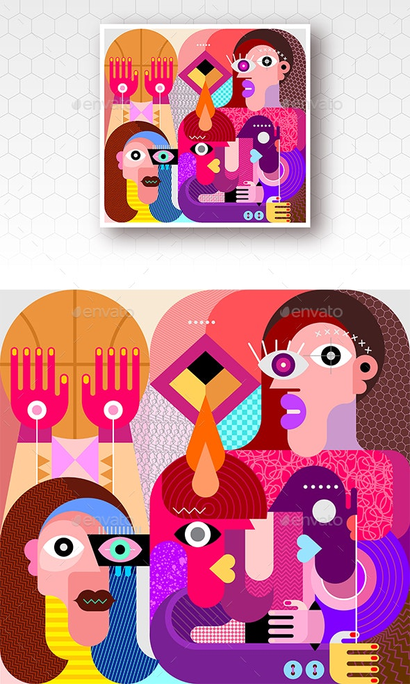 People Play Ball Vector Illustration - People Characters