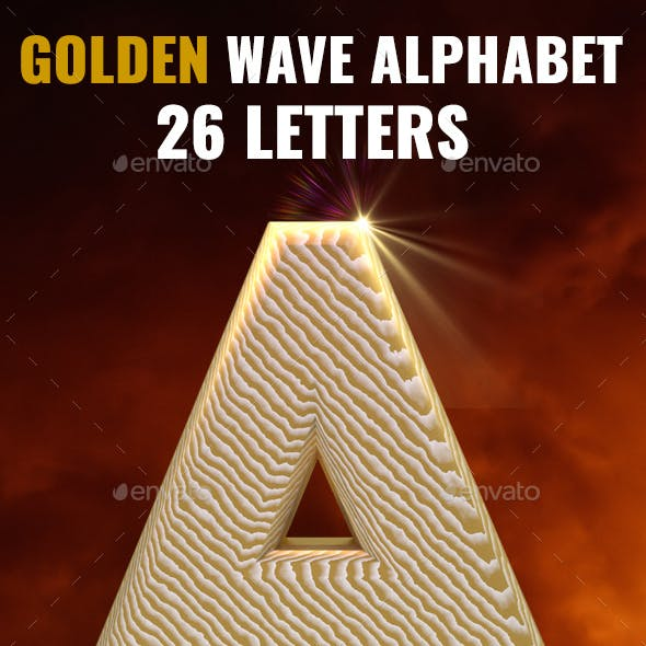 3D Renderd Golden Wave Letters
