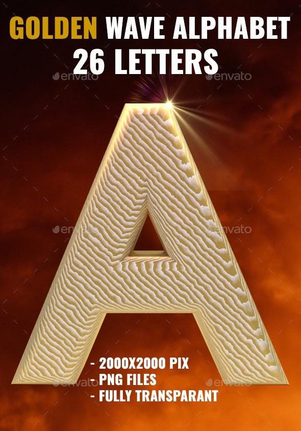 3D Renderd Golden Wave Letters - Decorative Symbols Decorative