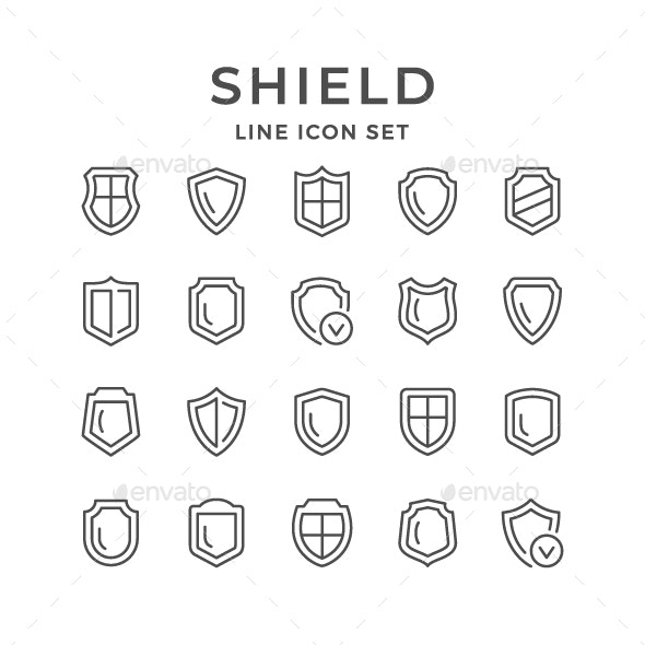 Set Line Icons of Shield - Man-made objects Objects