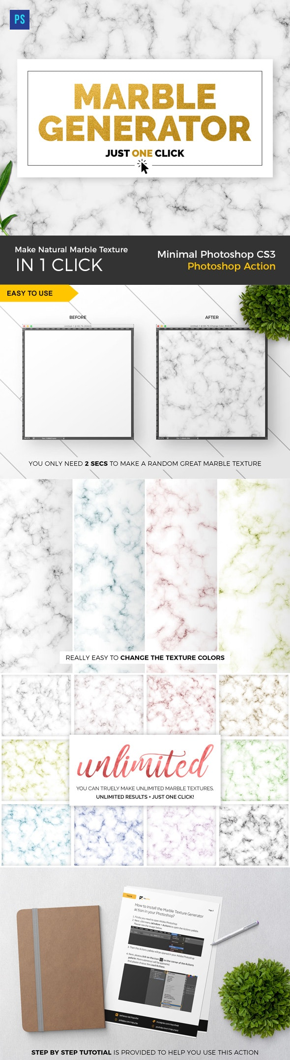 Marble Texture Generator PS Action - Textures / Fills / Patterns Photoshop