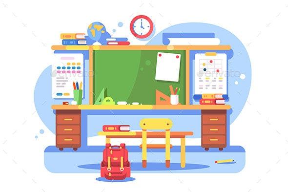 Schools Classroom Modern Interior - Miscellaneous Vectors