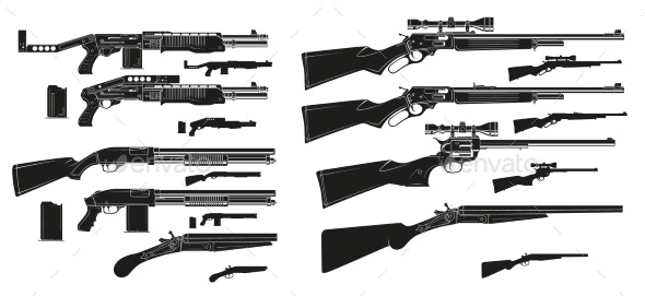 Graphic Silhouette Shotguns and Rifles Icons - Man-made Objects Objects