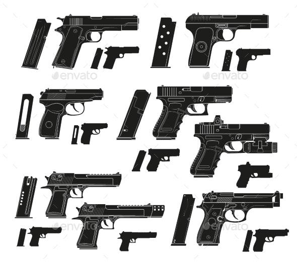 Graphic Silhouette Modern Handgun Pistols - Man-made Objects Objects