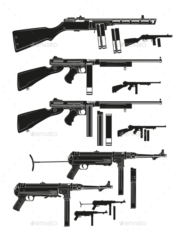 Graphic Silhouette Old Retro Submachine Guns - Man-made Objects Objects