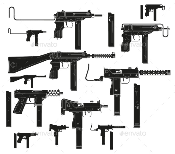 Graphic Silhouette Modern Submachine Guns - Man-made Objects Objects