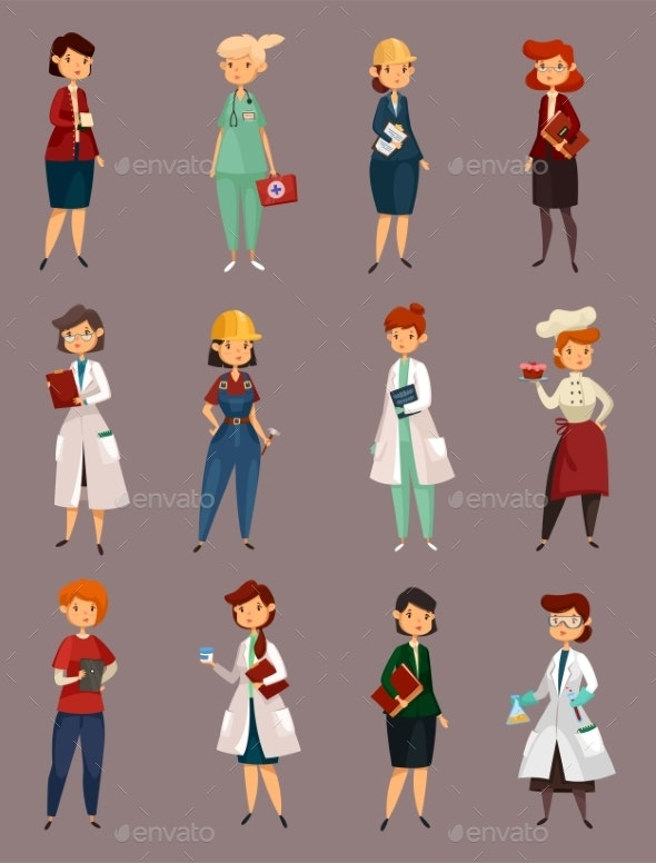 Different Female or Woman Jobs, Profession or Work - People Characters