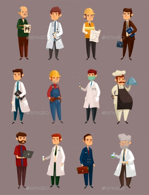 Doctor Job and Builder Man. Work and Profession - People Characters