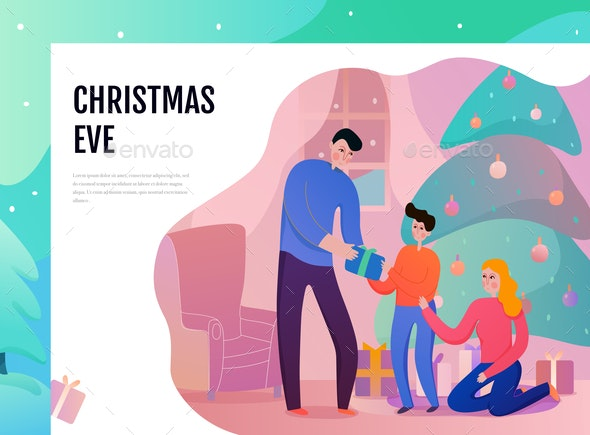 Christmas Eve Illustration - People Characters