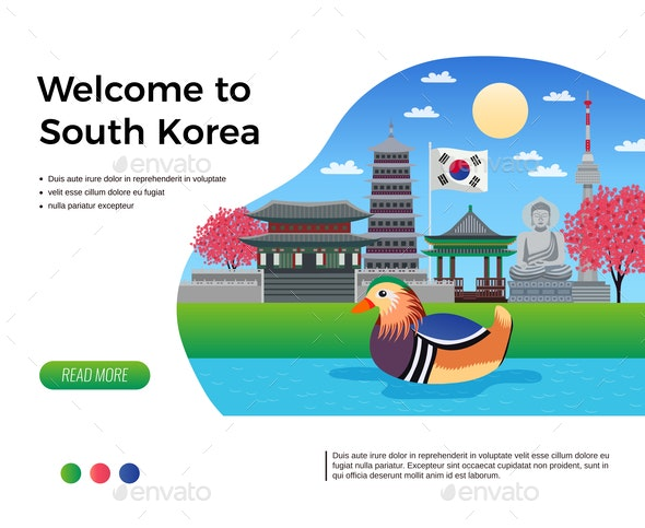 South Korea Welcome Banner - Buildings Objects