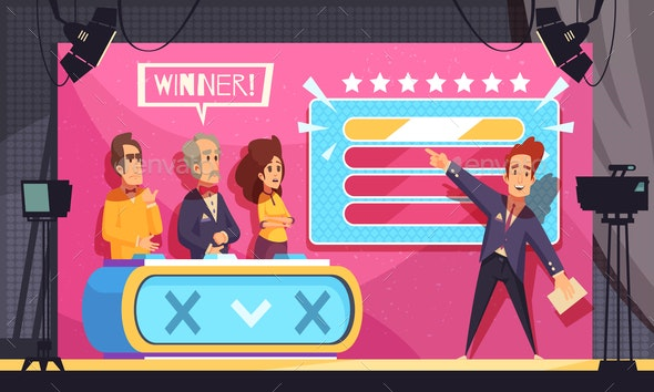 TV Guess Word Show Illustration - People Characters