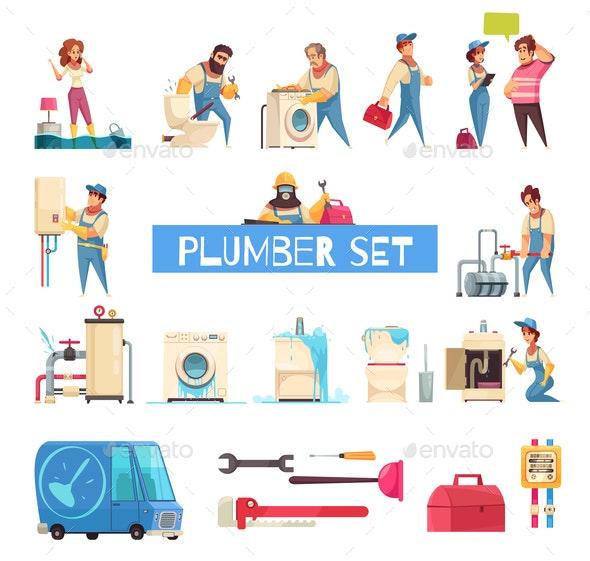 Plumber Cartoon Set - Miscellaneous Vectors