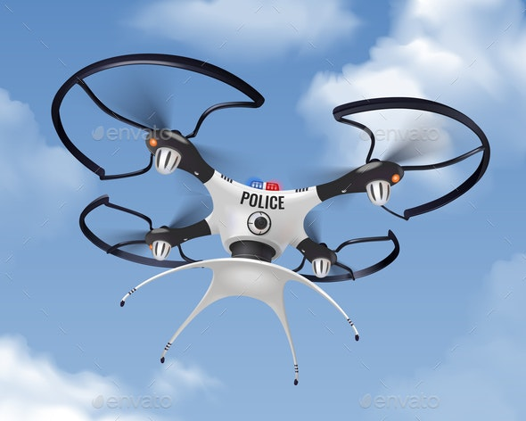 Police Drone Realistic In Sky Composition - Industries Business
