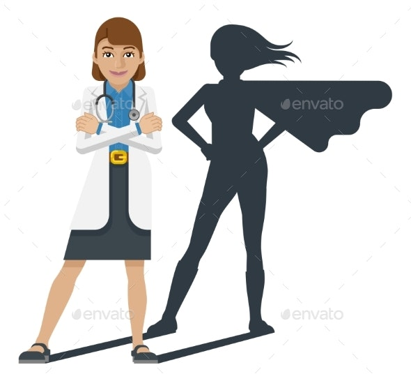 Young Medical Doctor Super Hero Cartoon Mascot - People Characters