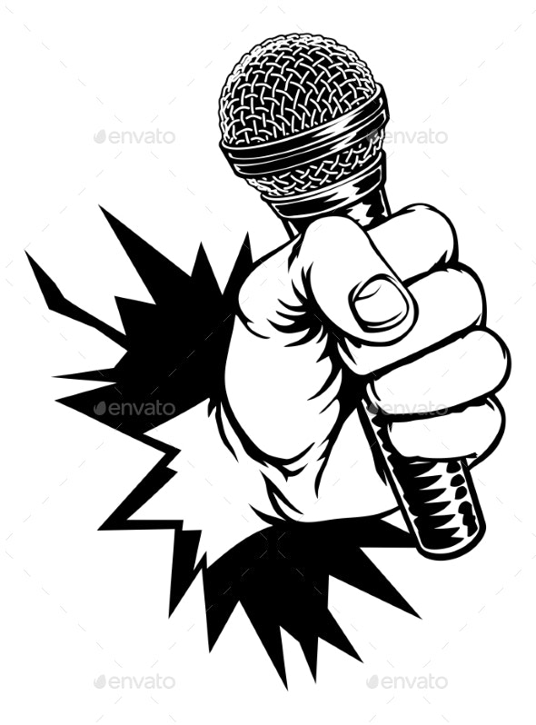 Hand Holding Microphone Breaking Background - Miscellaneous Vectors