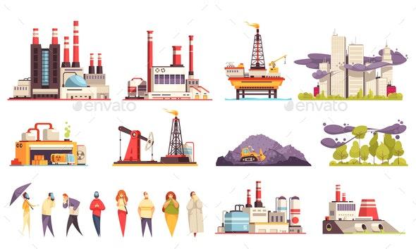 Industrial Buildings Cartoon Set - Industries Business