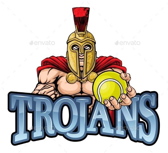 Trojan Spartan Tennis Sports Mascot - Sports/Activity Conceptual