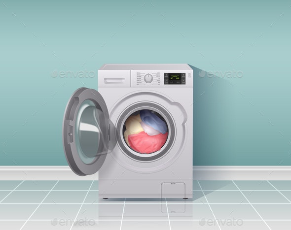 Washing Machine Realistic Composition - Technology Conceptual