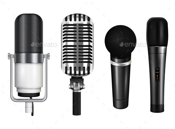 Professional Microphones Realistic Set - Miscellaneous Vectors