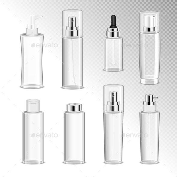 Cosmetics Bottles Transparent Set - Health/Medicine Conceptual