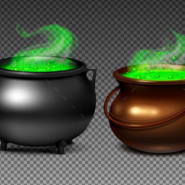 Witch Cauldrons With Green Potion