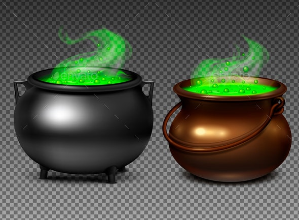 Witch Cauldrons With Green Potion - Miscellaneous Vectors