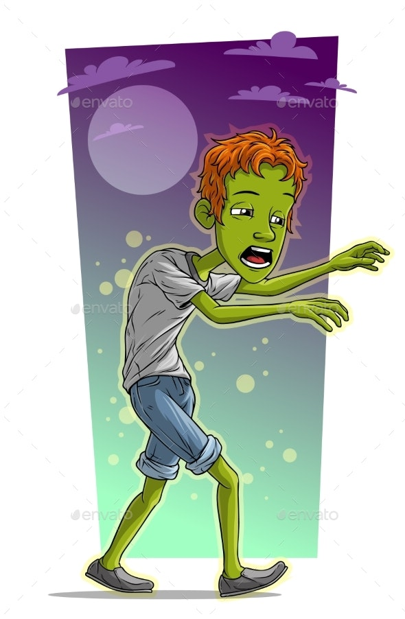 Cartoon Walking Tired Zombie Boy Character Vector - People Characters