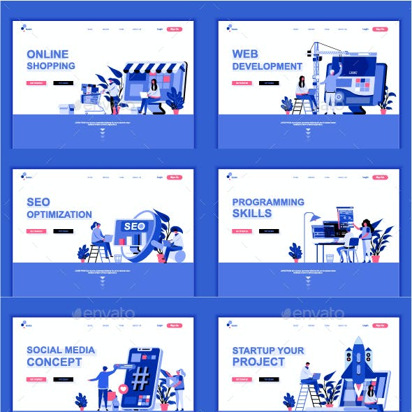 Set of Flat Landing Page Templates