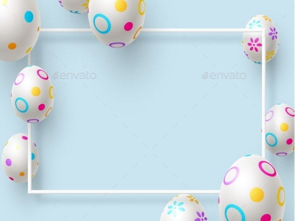 Easter Holiday Background with Painted Eggs - Miscellaneous Seasons/Holidays