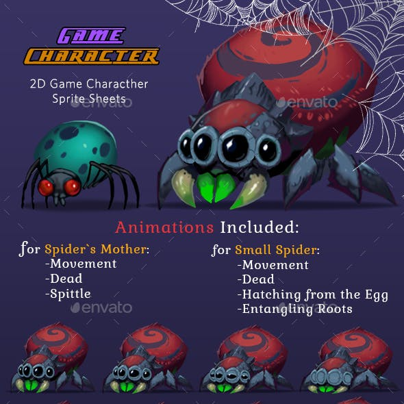 Monster Spiders 2D Game Character Sprites