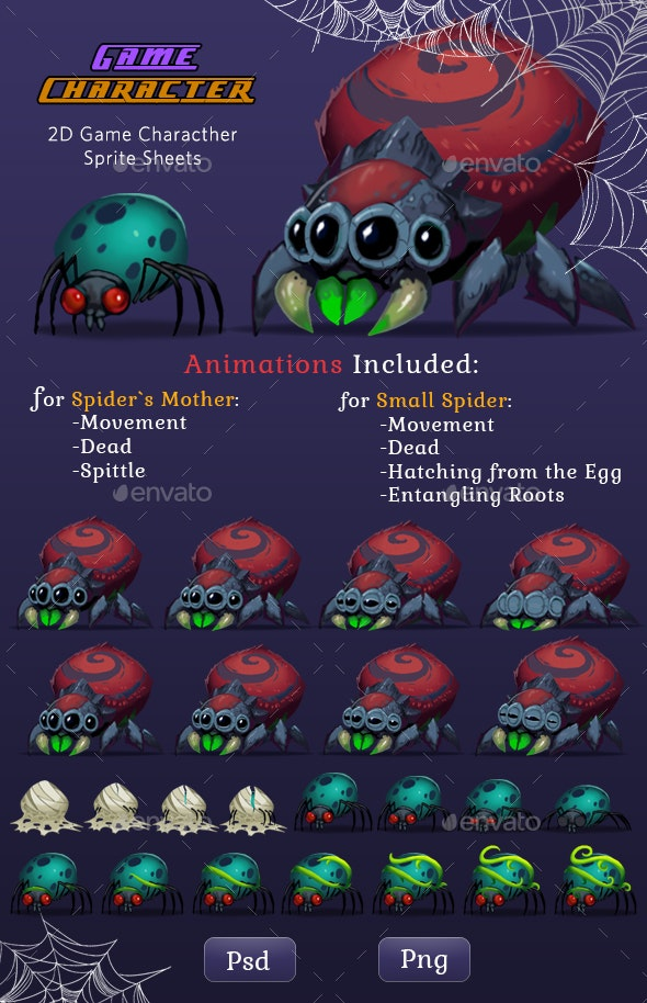 Monster Spiders 2D Game Character Sprites - Sprites Game Assets