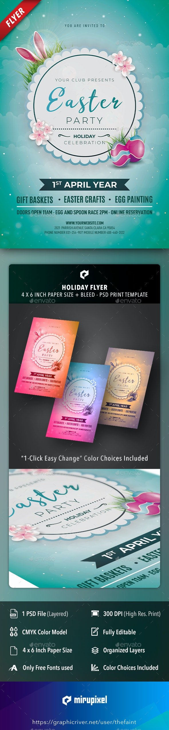 Happy Easter Holiday Flyer - Holidays Events