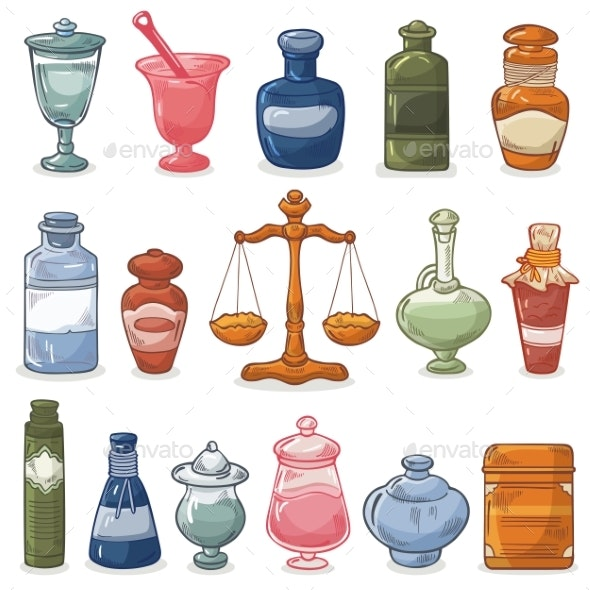 Pharmacy Bottles Vector Vintage Medical Drug Glass - Health/Medicine Conceptual