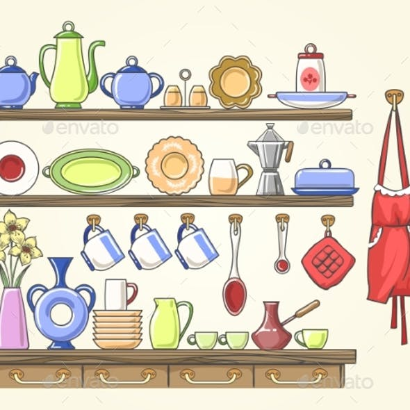 Cooking Shelf with Vintage Dishes