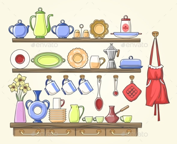 Cooking Shelf with Vintage Dishes - Man-made Objects Objects