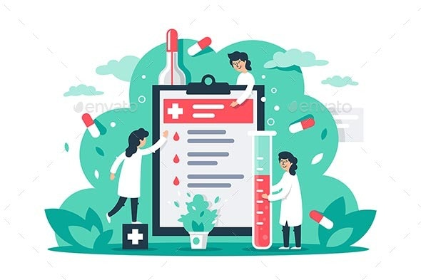 Flat Composition with Man and Woman with Medical - Health/Medicine Conceptual