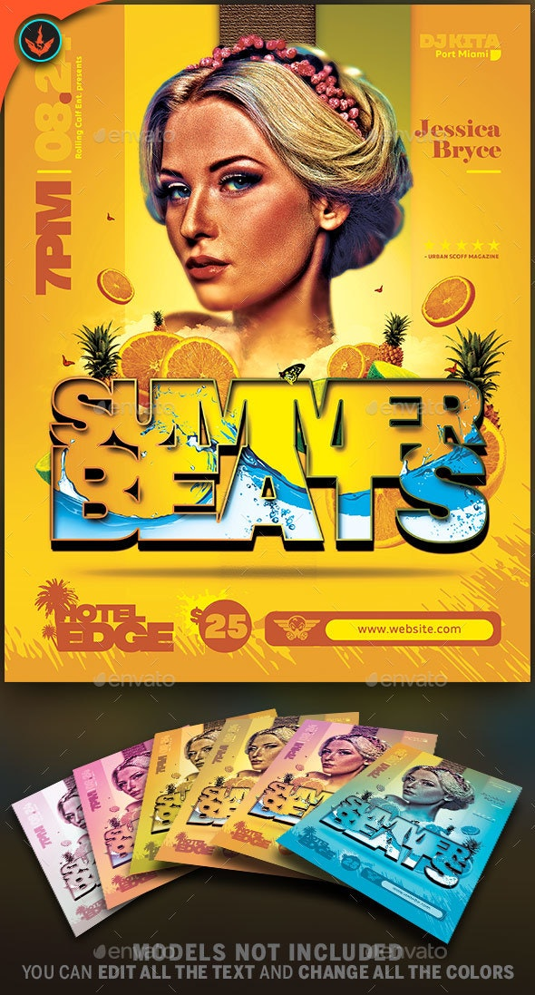 Summer Beats Music Festival Party Flyer Template - Events Flyers