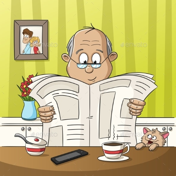 Man Reading a Newspaper - People Characters