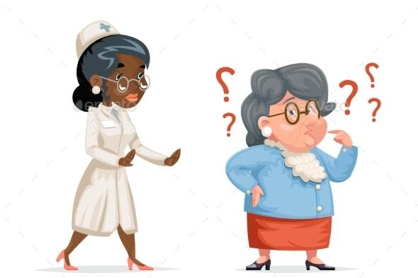 Nurse Doctor Hurries to Help Confused Grandmother - Health/Medicine Conceptual