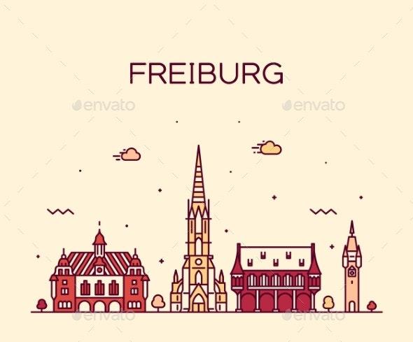 Freiburg Breisgau Baden Linear City Germany Vector - Buildings Objects