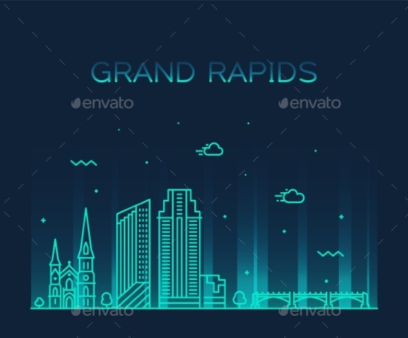 Grand Rapids Skyline Michigan USA Vector Linear - Buildings Objects