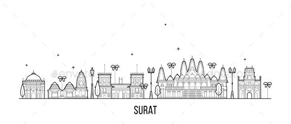 Surat Skyline Gujarat India City Buildings Vector - Buildings Objects