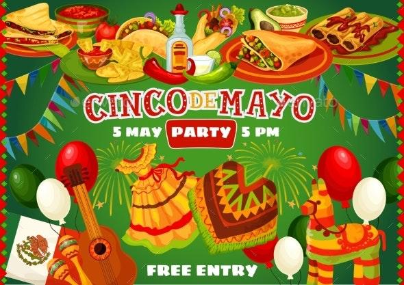 Happy Cinco De Mayo Mexican Party Food and Flags - Seasons/Holidays Conceptual
